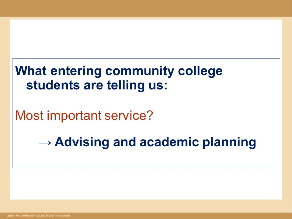 What entering community college students are telling us: Most important service.