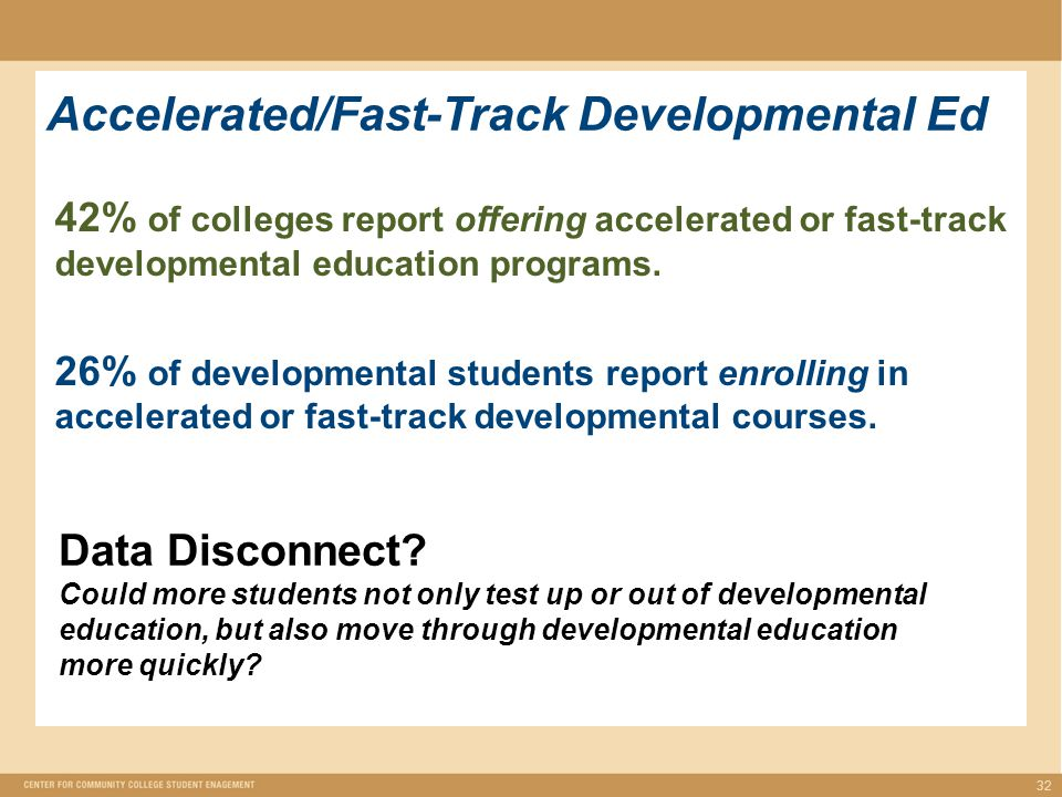 Accelerated/Fast-Track Developmental Ed 32 42% of colleges report offering accelerated or fast-track developmental education programs.