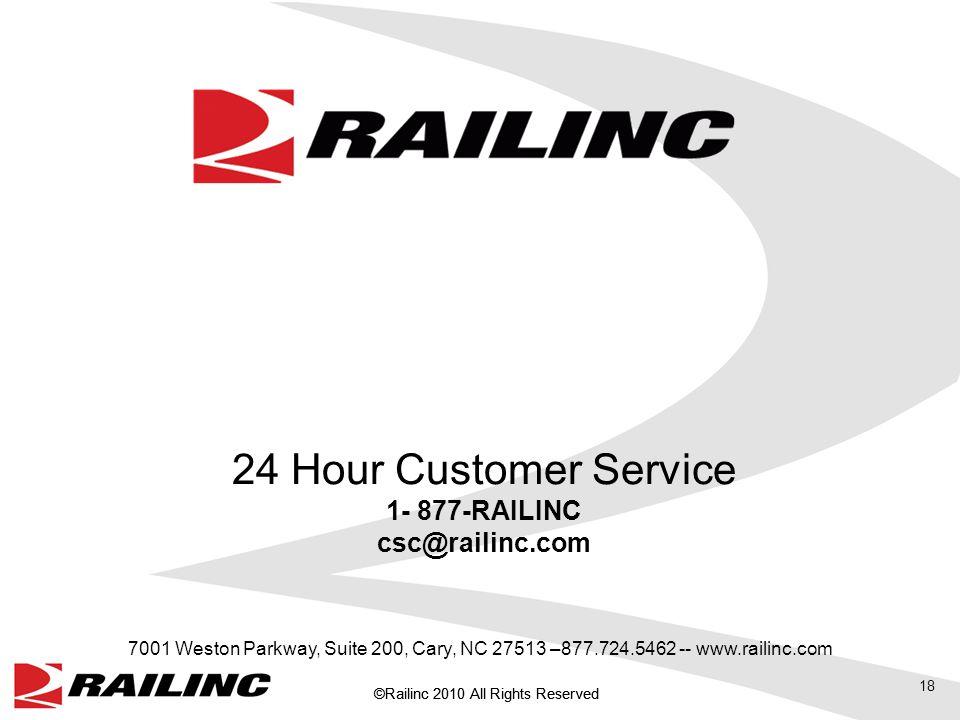 18 24 Hour Customer Service 1- 877-RAILINC csc@railinc.com 7001 Weston Parkway, Suite 200, Cary, NC 27513 –877.724.5462 -- www.railinc.com