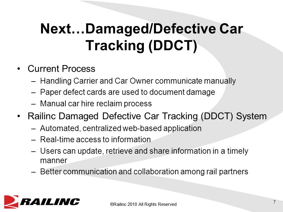 ©Railinc 2010 All Rights Reserved Damage is identified by the Handling Carrier Handling Carrier creates defect card Handling Carrier creates defect card Repair Shop Handling Carrier notifies Car Mark Owner Car Accounting determines car hire liability Car Accounting determines car hire liability Bill Sent to Owner Reclaim after the fact Current Damage Defective Process Manually places card on car Communication