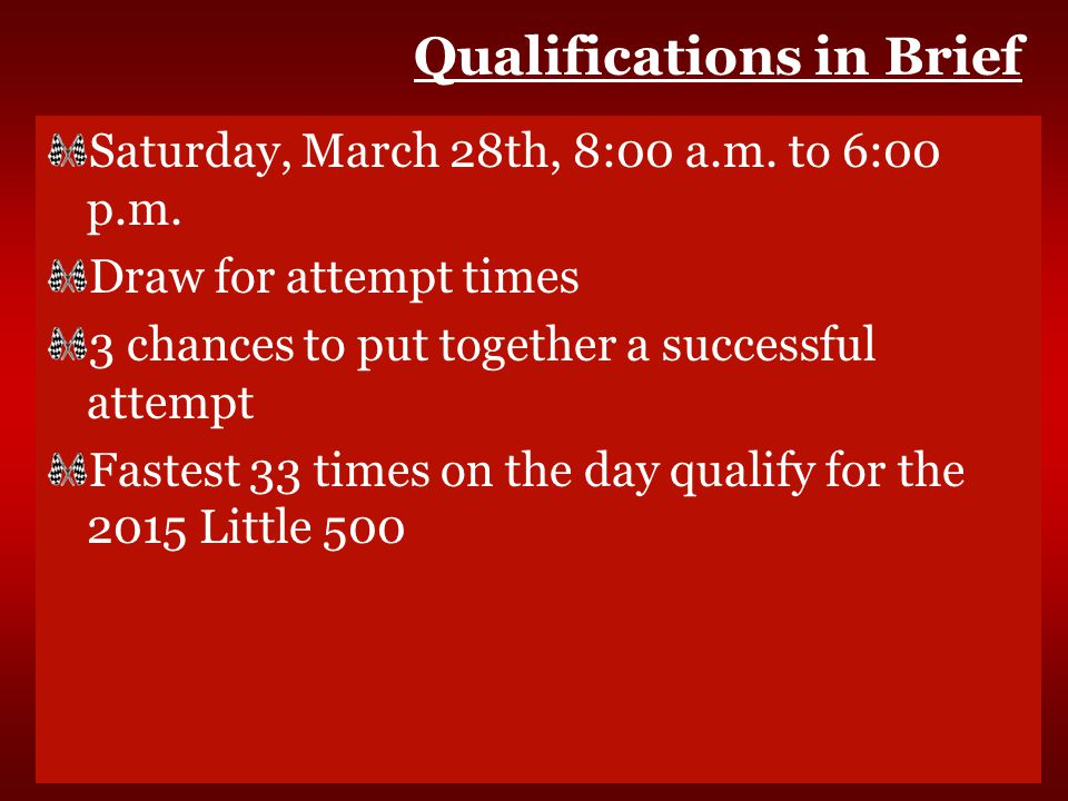 Qualifications in Brief Saturday, March 28th, 8:00 a.m.