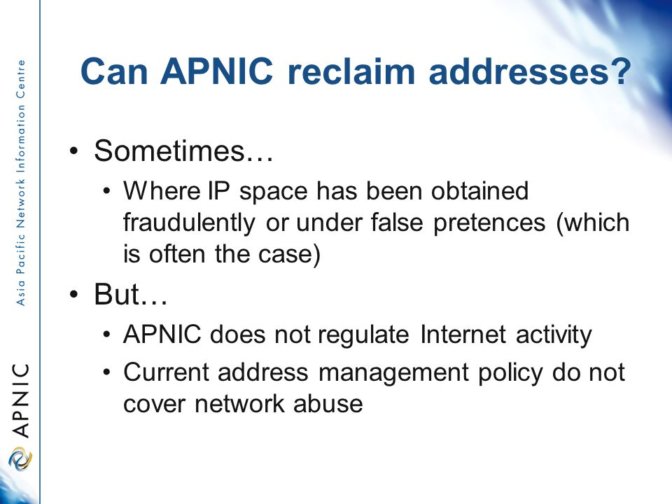 Can APNIC reclaim addresses.