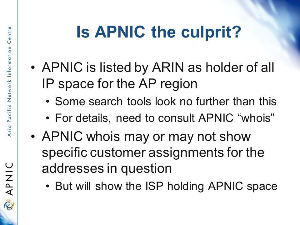 Is APNIC the culprit.