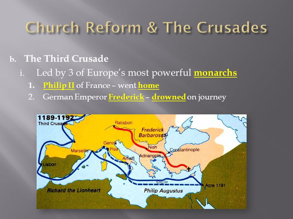 b. The Third Crusade i. Led by 3 of Europe's most powerful monarchs 1.