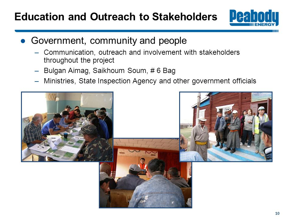 Education and Outreach to Stakeholders ●Government, community and people –Communication, outreach and involvement with stakeholders throughout the project –Bulgan Aimag, Saikhoum Soum, # 6 Bag –Ministries, State Inspection Agency and other government officials 10