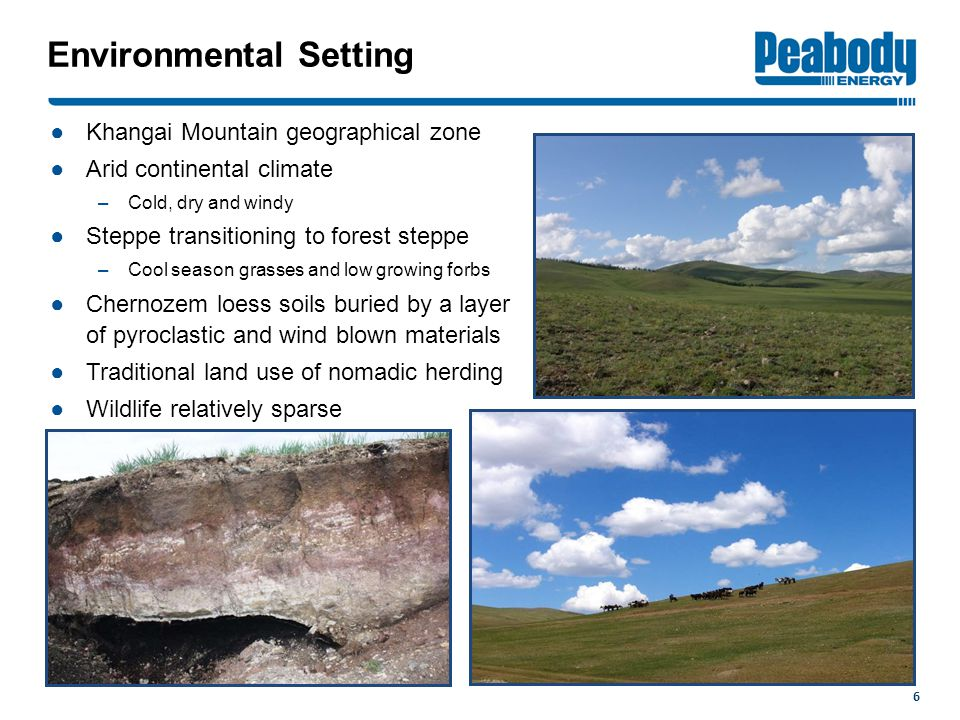 Environmental Setting ●Khangai Mountain geographical zone ●Arid continental climate –Cold, dry and windy ●Steppe transitioning to forest steppe –Cool season grasses and low growing forbs ●Chernozem loess soils buried by a layer of pyroclastic and wind blown materials ●Traditional land use of nomadic herding ●Wildlife relatively sparse 6