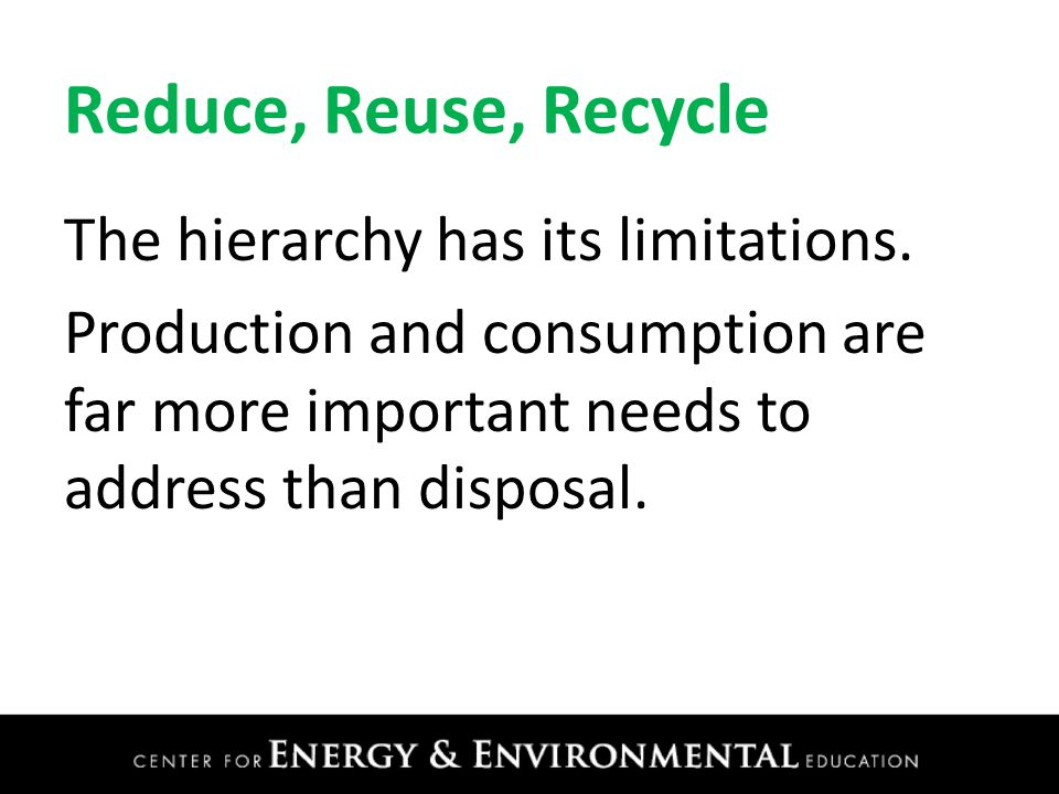 Reduce, Reuse, Recycle The hierarchy has its limitations.