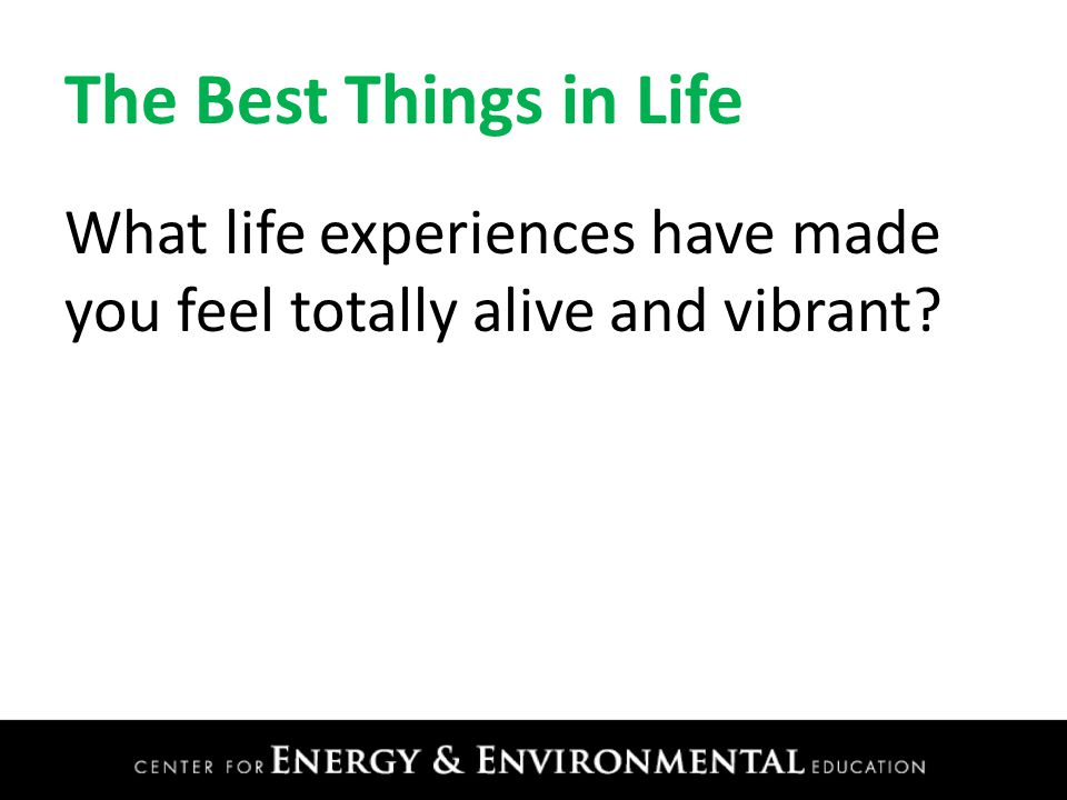 The Best Things in Life What life experiences have made you feel totally alive and vibrant?