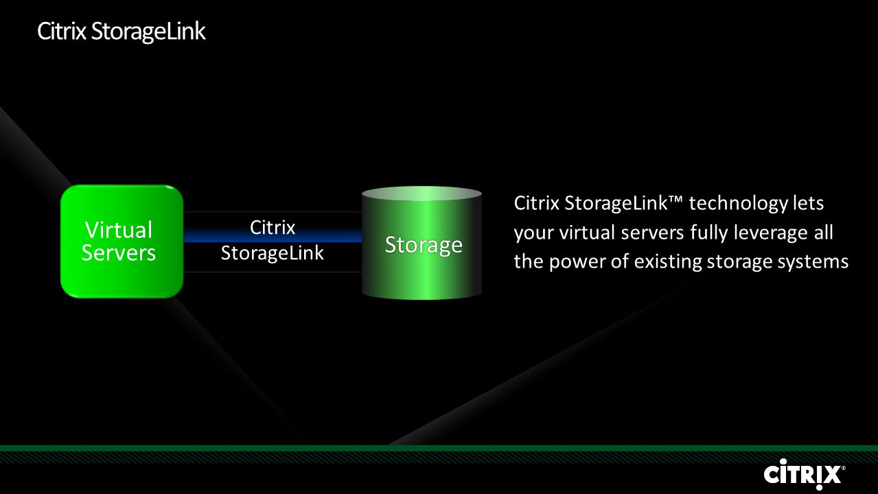 Storage Citrix StorageLink Citrix StorageLink™ technology lets your virtual servers fully leverage all the power of existing storage systems Virtual Servers Citrix StorageLink