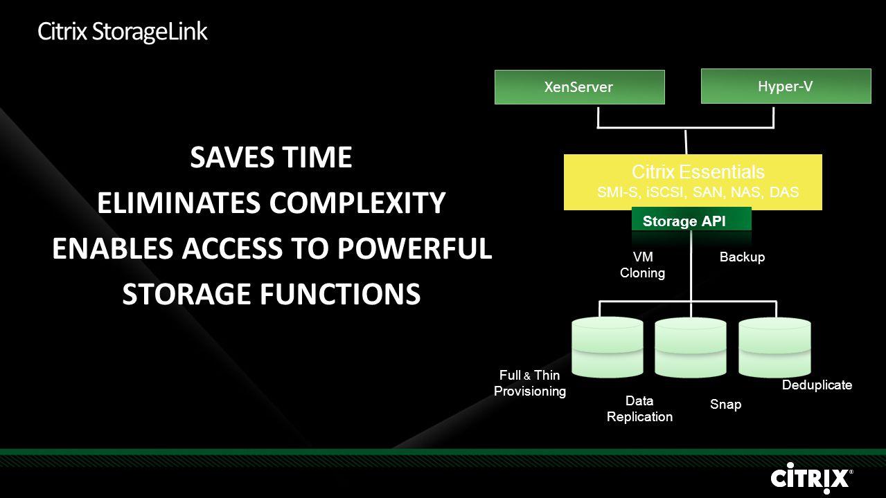 Citrix StorageLink SAVES TIME ELIMINATES COMPLEXITY ENABLES ACCESS TO POWERFUL STORAGE FUNCTIONS Storage API Citrix Essentials SMI-S, iSCSI, SAN, NAS,