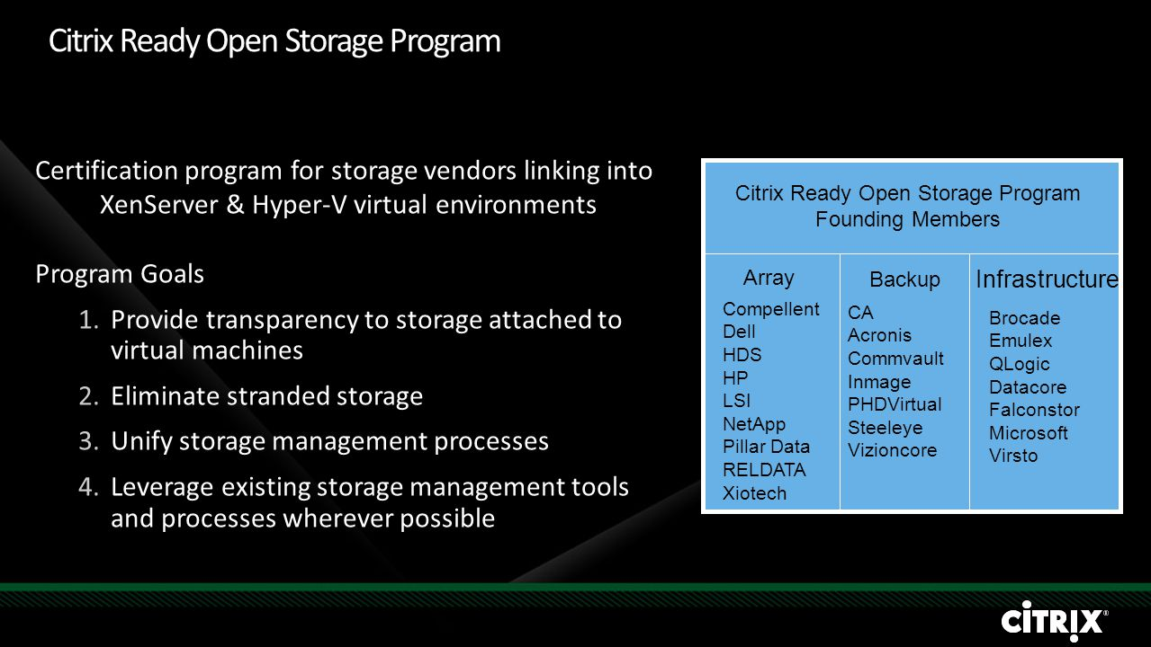 Citrix Ready Open Storage Program Founding Members Array Infrastructure Backup Certification program for storage vendors linking into XenServer & Hype