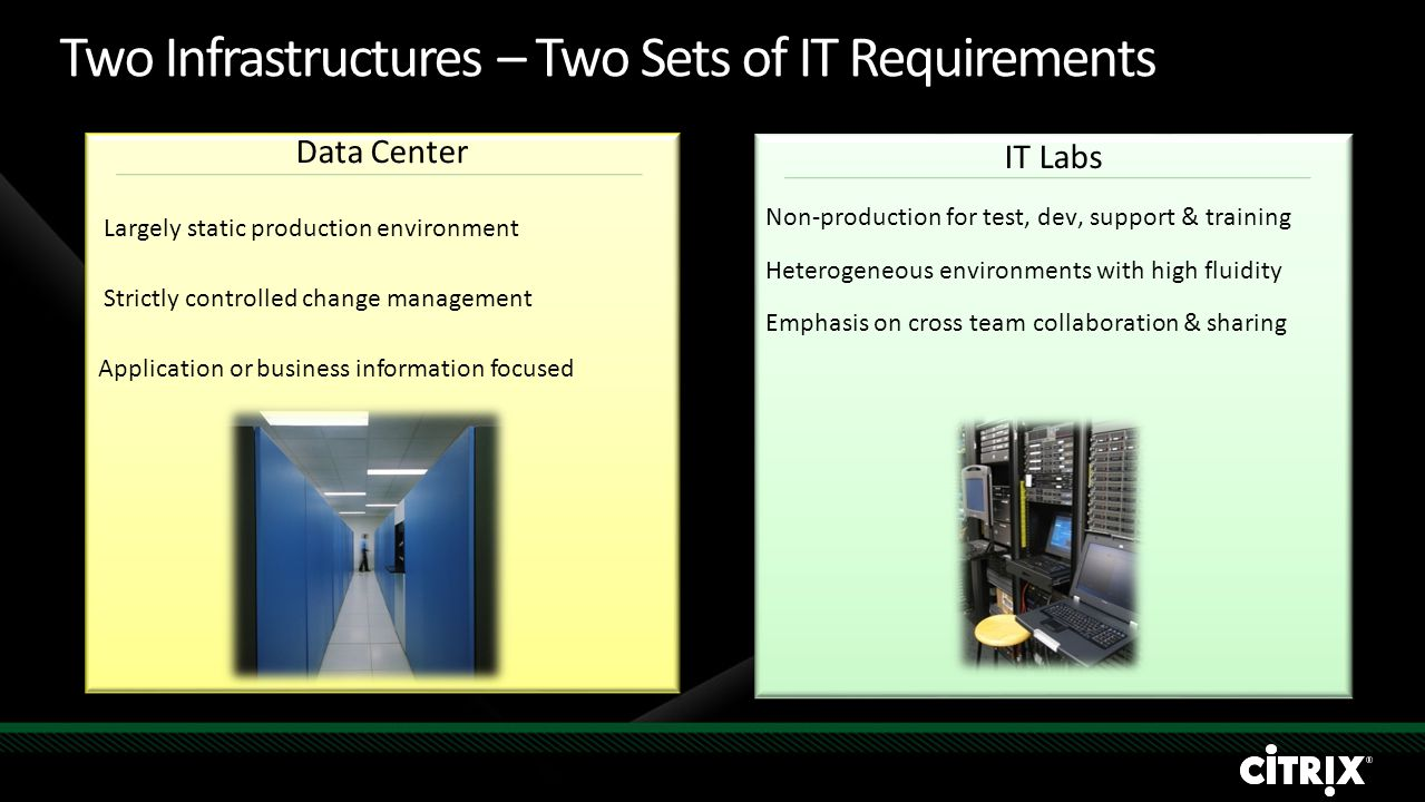 IT Labs Non-production for test, dev, support & training Heterogeneous environments with high fluidity Emphasis on cross team collaboration & sharing