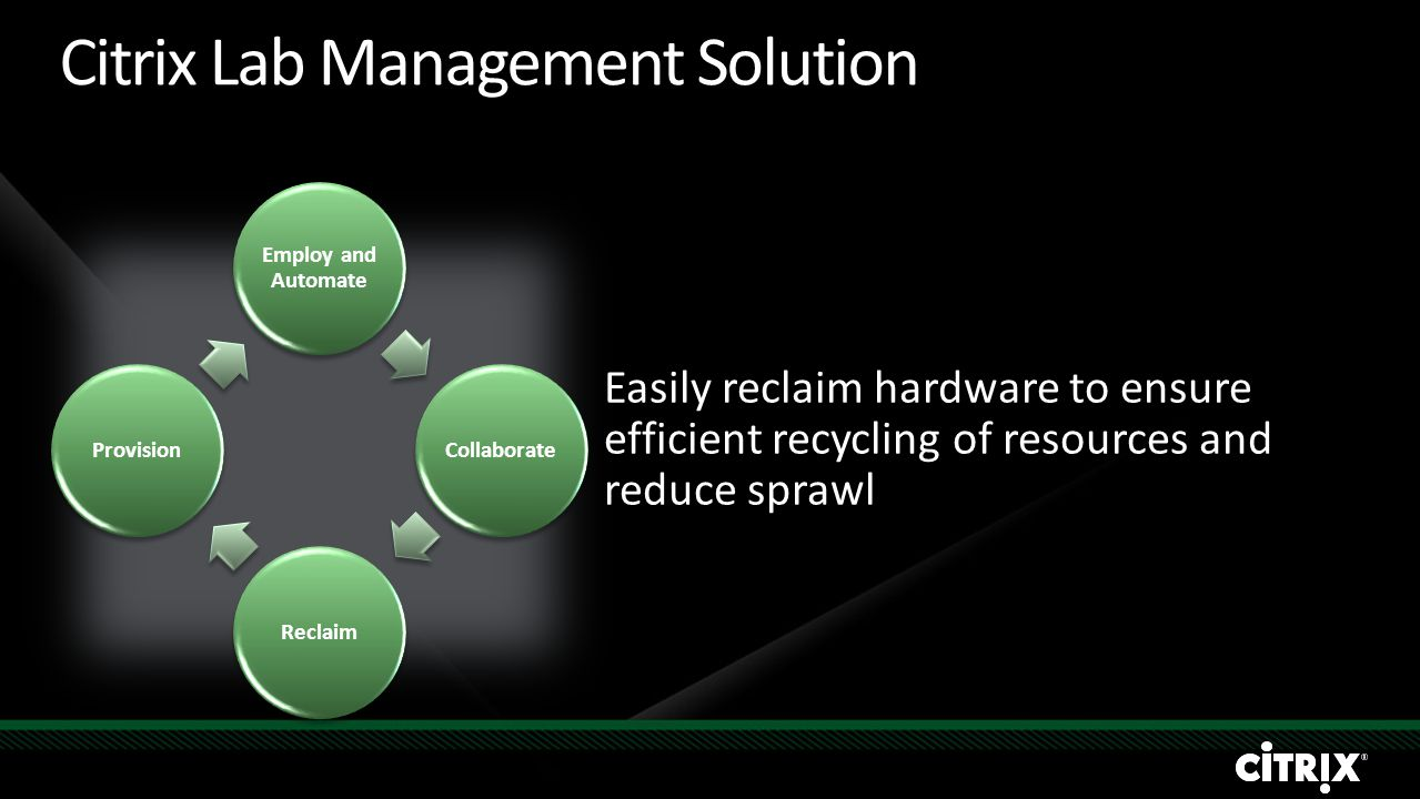 Citrix Lab Management Solution Easily reclaim hardware to ensure efficient recycling of resources and reduce sprawl