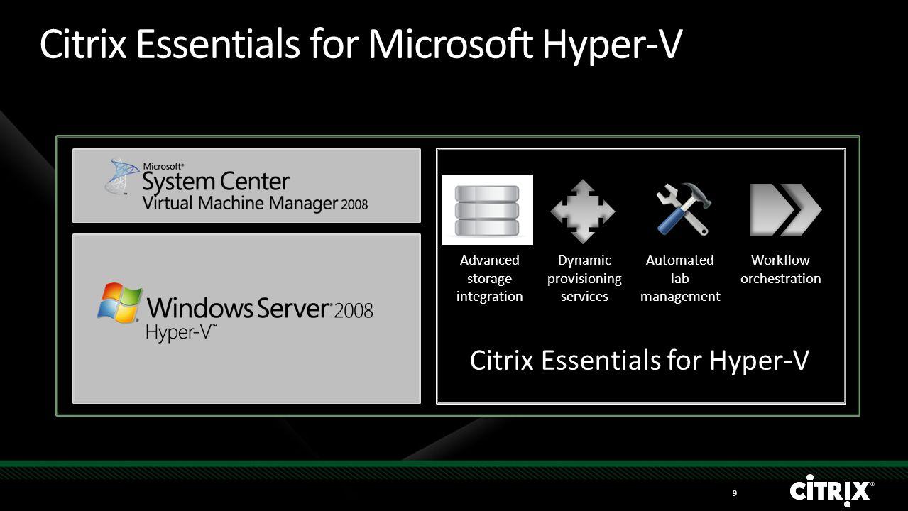Citrix Essentials for Hyper-V extends Windows Server 2008 Hyper-V and System Center Citrix Essentials for Microsoft Hyper-V Advanced virtualization ma