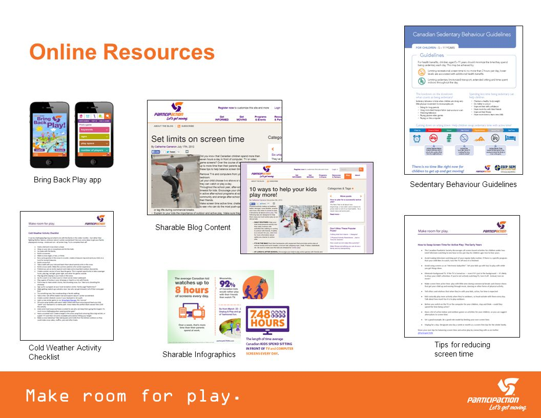 Online Resources Bring Back Play app Sharable Blog Content Make room for play.