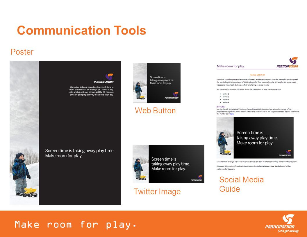 Poster Make room for play. Web Button Twitter Image Communication Tools Social Media Guide