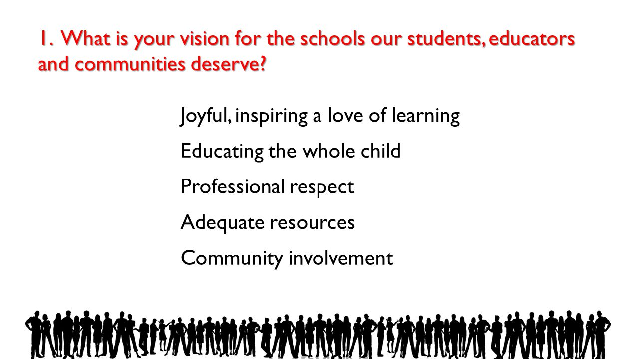 1. What is your vision for the schools our students, educators and communities deserve? Joyful, inspiring a love of learning Educating the whole child