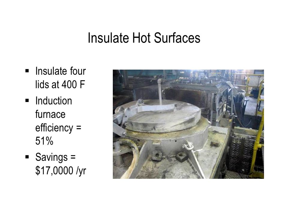 Insulate Hot Surfaces  Insulate four lids at 400 F  Induction furnace efficiency = 51%  Savings = $17,0000 /yr