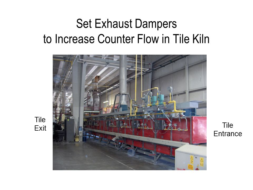 Set Exhaust Dampers to Increase Counter Flow in Tile Kiln Tile Exit Tile Entrance