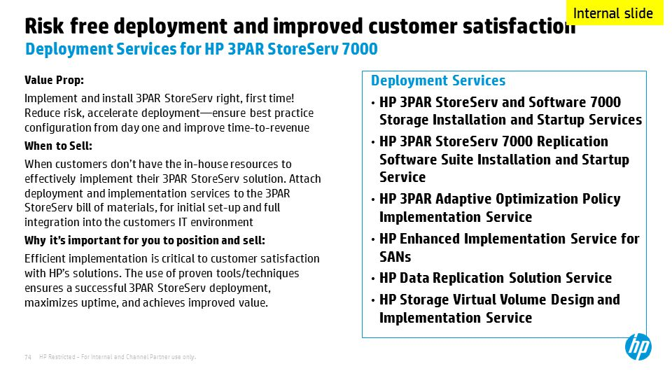 HP Restricted - For Internal and Channel Partner use only. 74 Risk free deployment and improved customer satisfaction Value Prop: Implement and instal