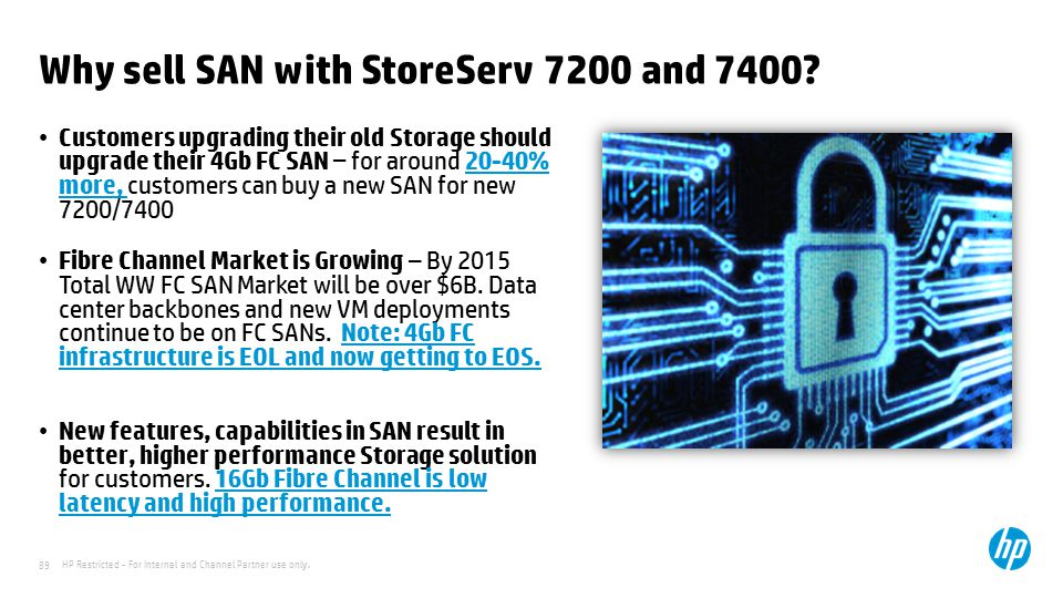 HP Restricted - For Internal and Channel Partner use only. 89 Why sell SAN with StoreServ 7200 and 7400? Customers upgrading their old Storage should