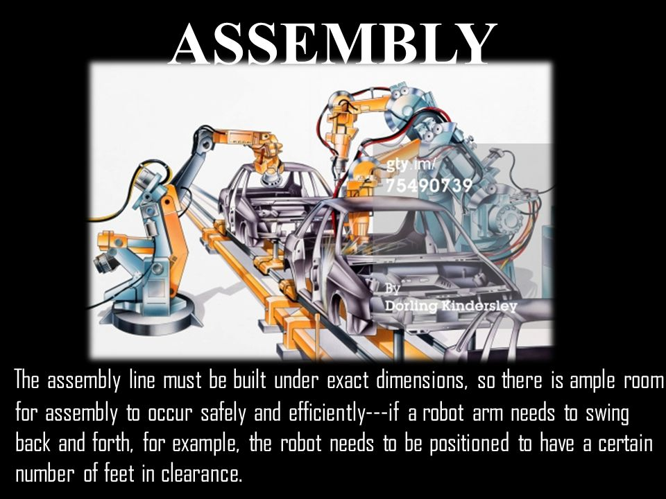 ASSEMBLY The assembly line must be built under exact dimensions, so there is ample room for assembly to occur safely and efficiently---if a robot arm