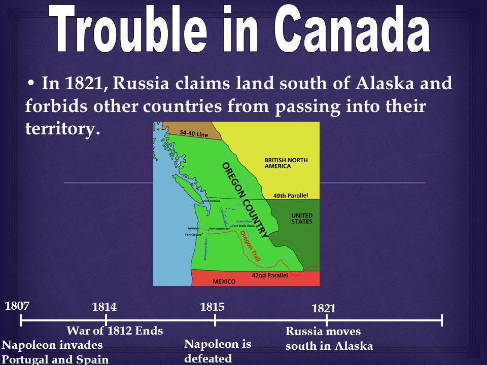 In 1821, Russia claims land south of Alaska and forbids other countries from passing into their territory.