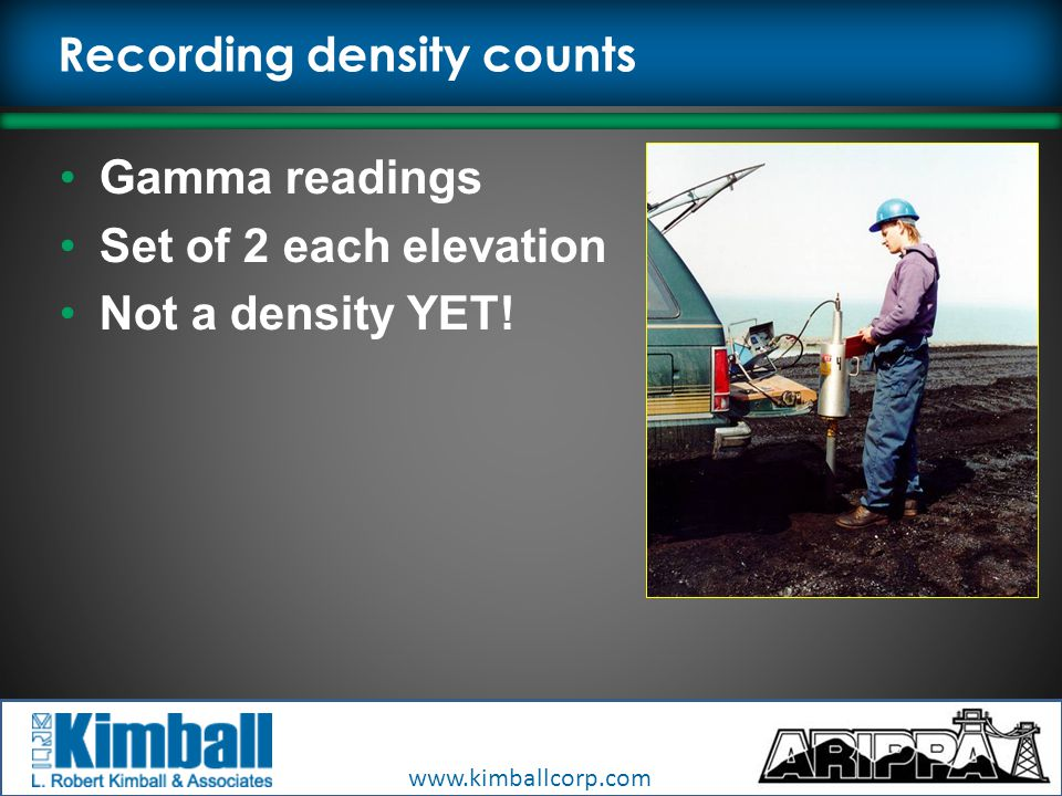 www.kimballcorp.com Recording density counts Gamma readings Set of 2 each elevation Not a density YET!