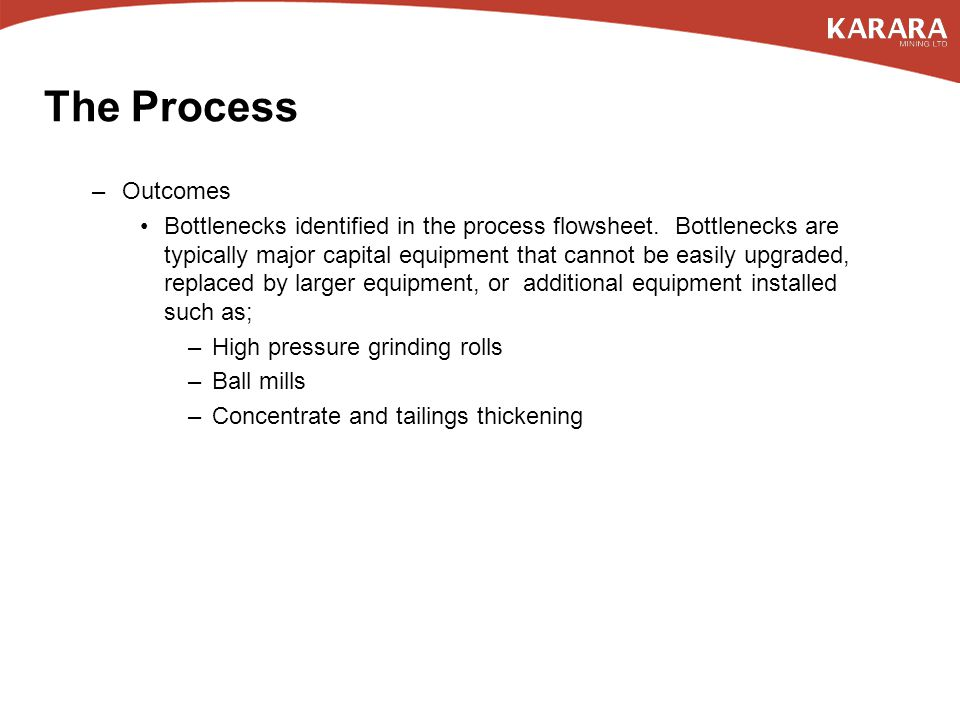 –Outcomes Bottlenecks identified in the process flowsheet.