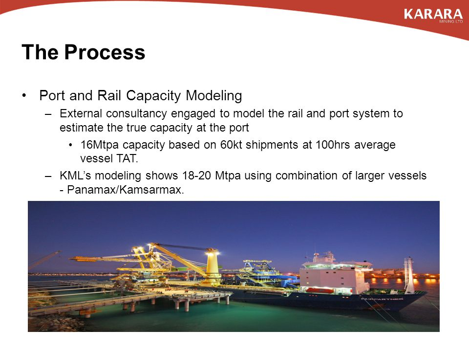 The Process Port and Rail Capacity Modeling –External consultancy engaged to model the rail and port system to estimate the true capacity at the port 16Mtpa capacity based on 60kt shipments at 100hrs average vessel TAT.
