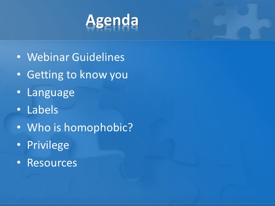 Webinar Guidelines Getting to know you Language Labels Who is homophobic Privilege Resources