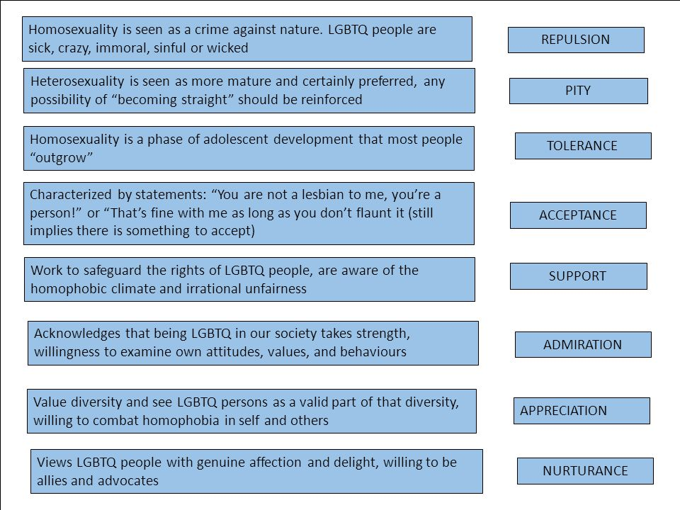 Acknowledges that being LGBTQ in our society takes strength, willingness to examine own attitudes, values, and behaviours ADMIRATION Views LGBTQ peopl