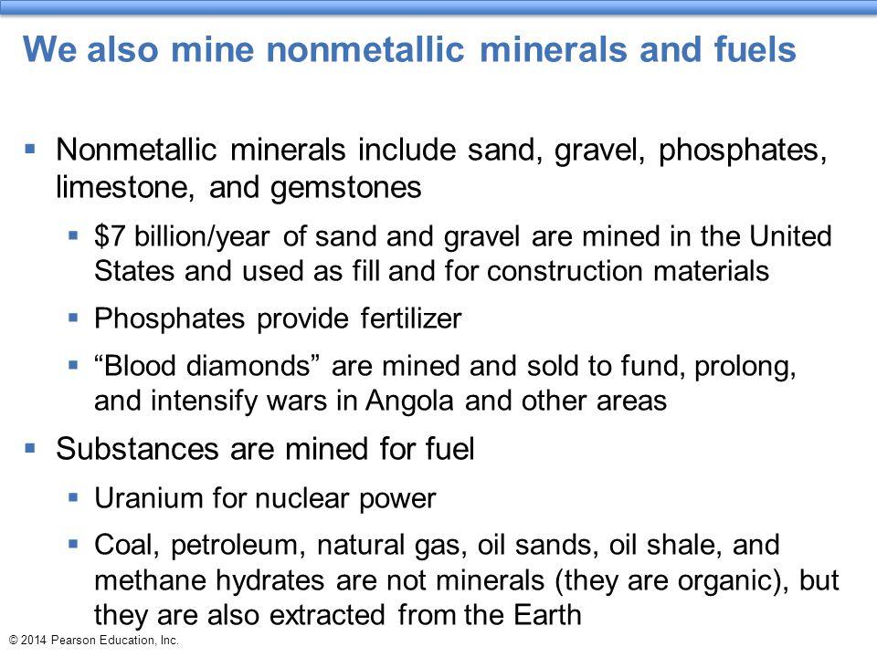 We also mine nonmetallic minerals and fuels  Nonmetallic minerals include sand, gravel, phosphates, limestone, and gemstones  $7 billion/year of san