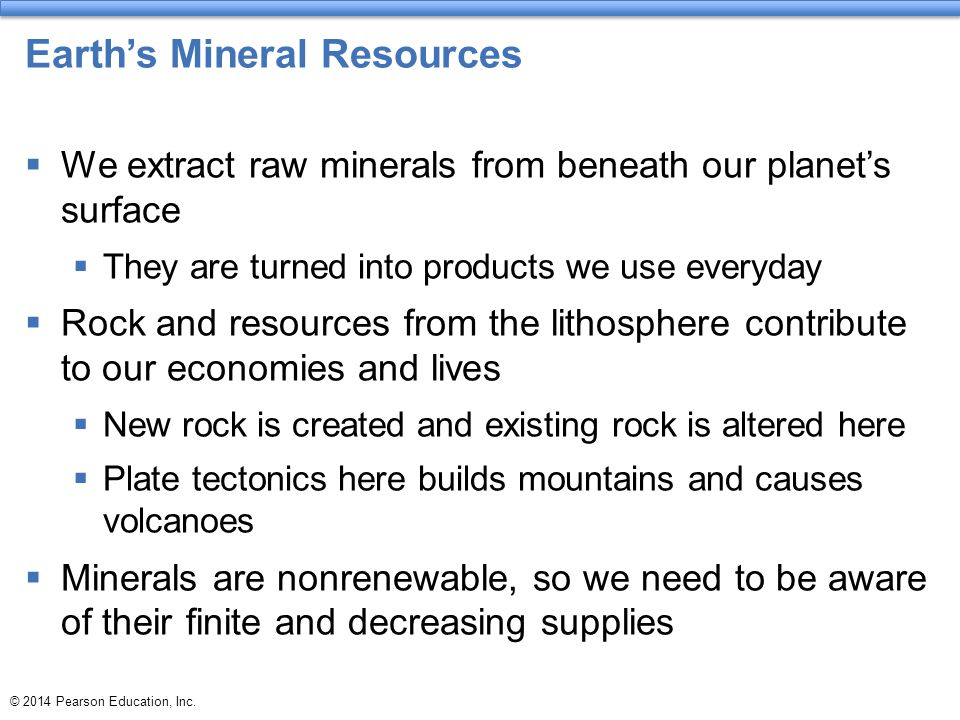 Earth's Mineral Resources  We extract raw minerals from beneath our planet's surface  They are turned into products we use everyday  Rock and resou