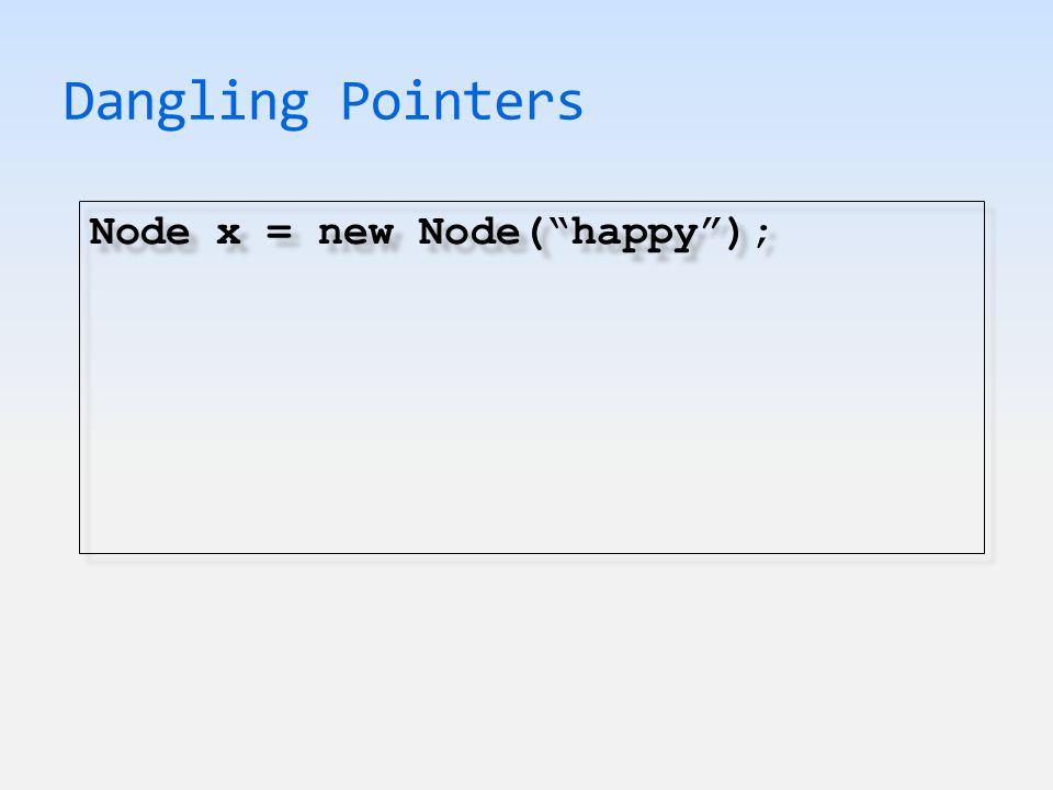 Dangling Pointers Node x = new Node( happy ); Node ptr = x; Node x = new Node( happy ); Node ptr = x;