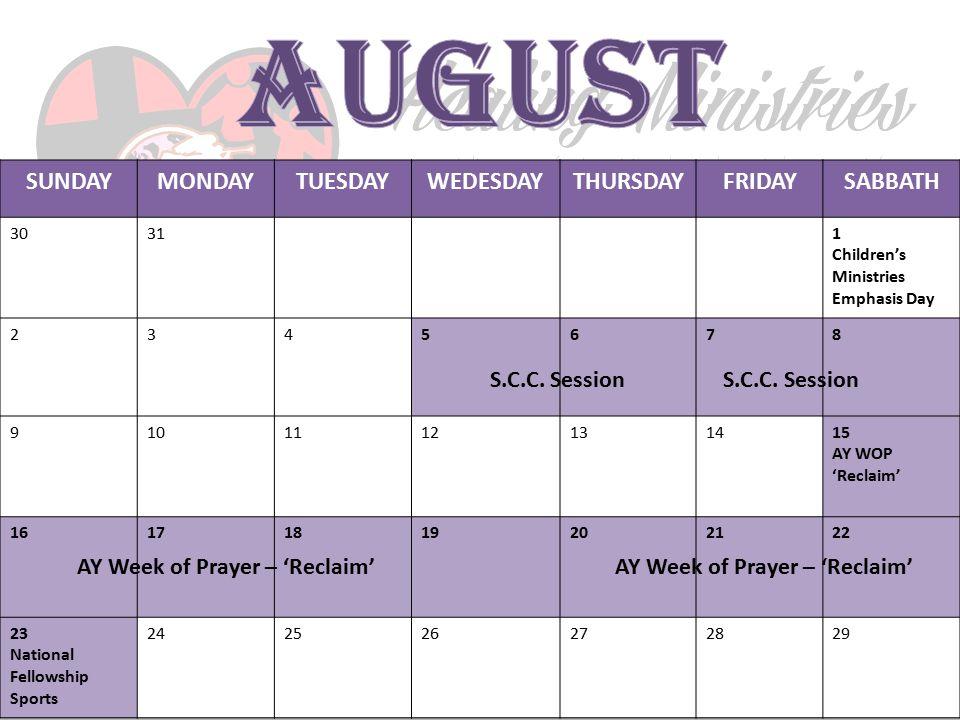 S.C.C. Session AY Week of Prayer – 'Reclaim' AY Week of Prayer – 'Reclaim'