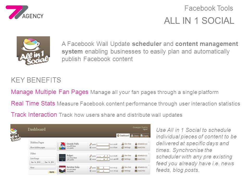 ALL IN 1 SOCIAL A Facebook Wall Update scheduler and content management system enabling businesses to easily plan and automatically publish Facebook content KEY BENEFITS Manage Multiple Fan Pages Manage all your fan pages through a single platform Real Time Stats Measure Facebook content performance through user interaction statistics Track Interaction Track how users share and distribute wall updates Use All in 1 Social to schedule individual pieces of content to be delivered at specific days and times.