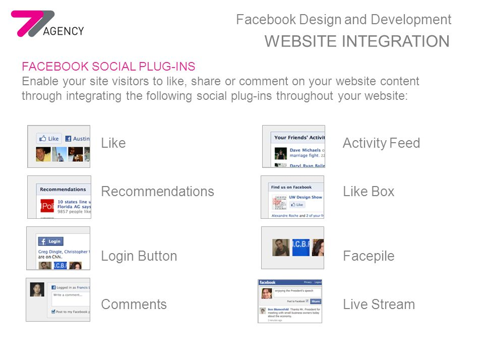 Facebook Design and Development WEBSITE INTEGRATION FACEBOOK SOCIAL PLUG-INS Enable your site visitors to like, share or comment on your website content through integrating the following social plug-ins throughout your website: LikeActivity Feed RecommendationsLike Box Login ButtonFacepile CommentsLive Stream