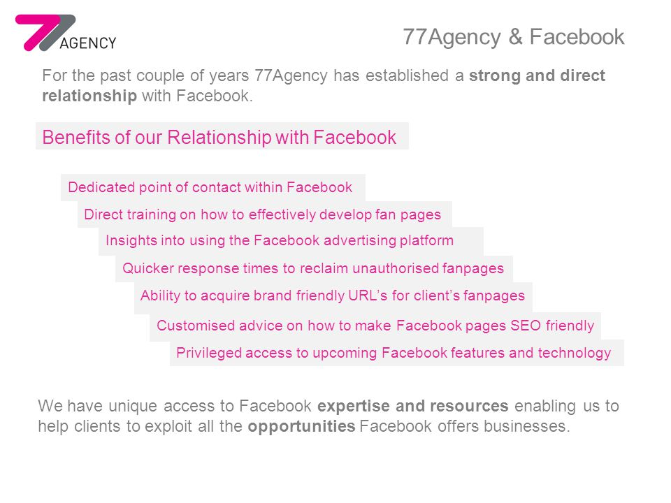 77Agency provides a complete Facebook Application solution including concept creation, design, development and app management.