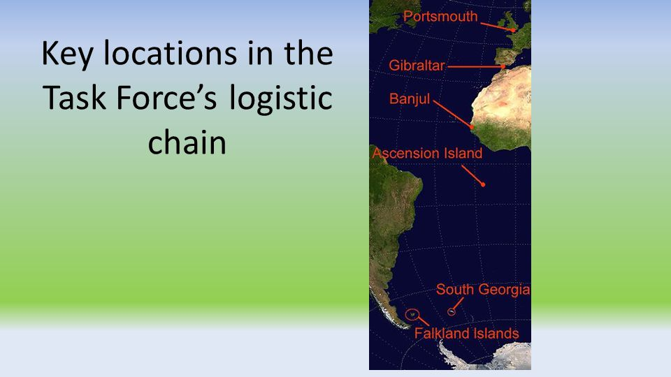 Key locations in the Task Force's logistic chain