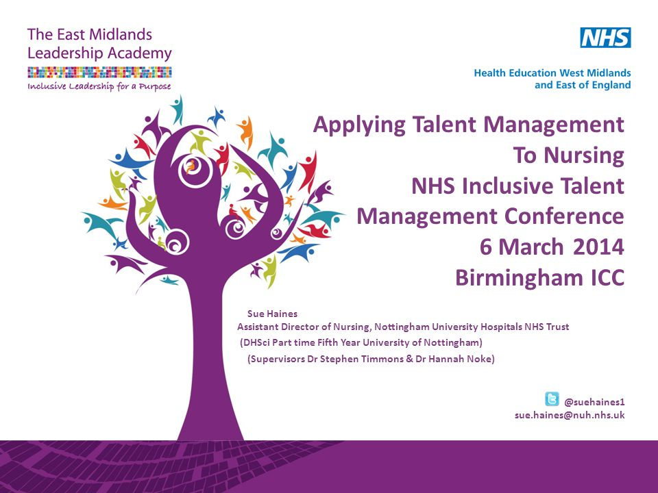 Applying Talent Management To Nursing NHS Inclusive Talent Management Conference 6 March 2014 Birmingham ICC Sue Haines Assistant Director of Nursing,