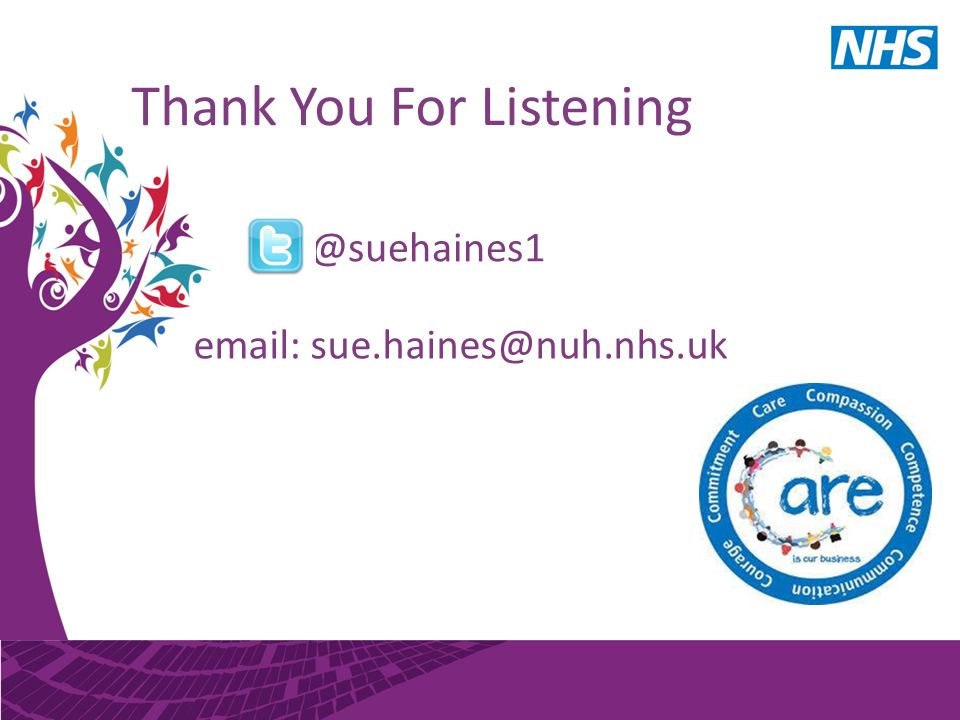 Thank You For Listening @suehaines1 email: sue.haines@nuh.nhs.uk