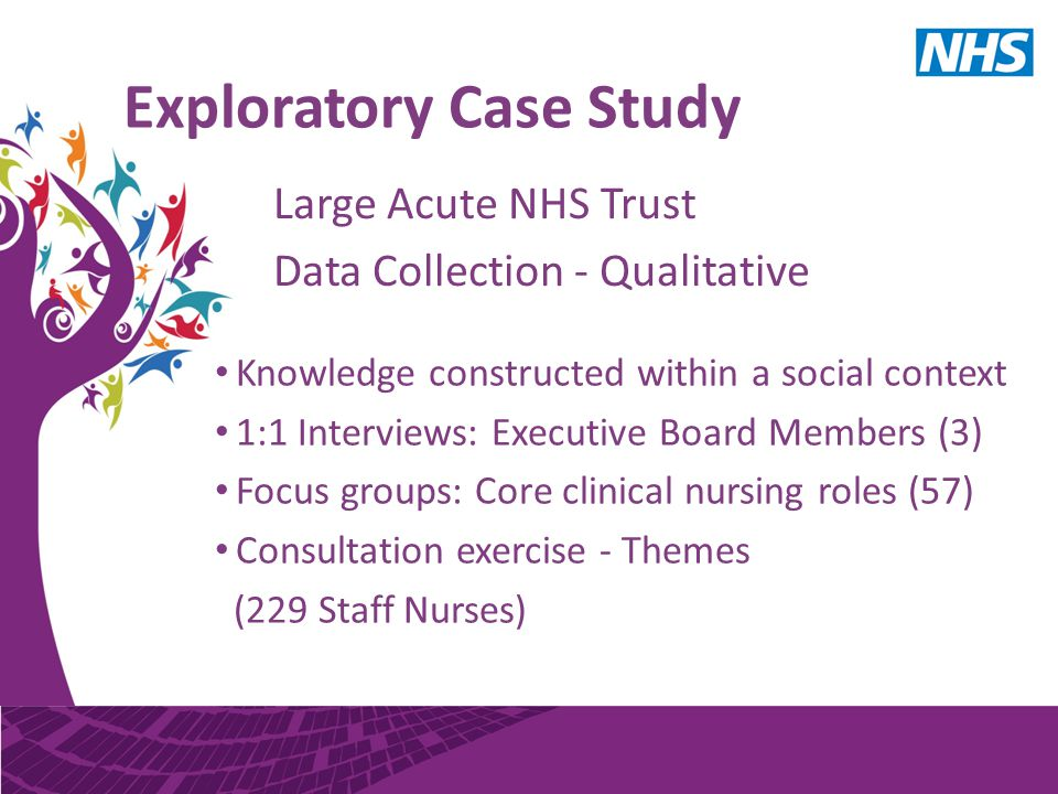Exploratory Case Study Large Acute NHS Trust Data Collection - Qualitative Knowledge constructed within a social context 1:1 Interviews: Executive Board Members (3) Focus groups: Core clinical nursing roles (57) Consultation exercise - Themes (229 Staff Nurses)