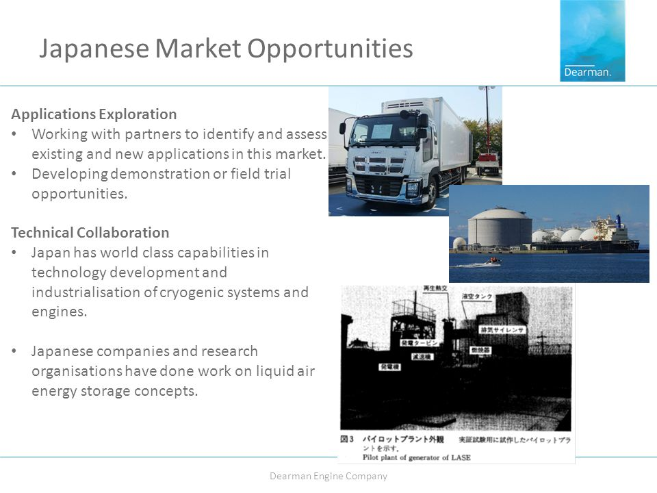 Japanese Market Opportunities Dearman Engine Company Applications Exploration Working with partners to identify and assess existing and new applications in this market.