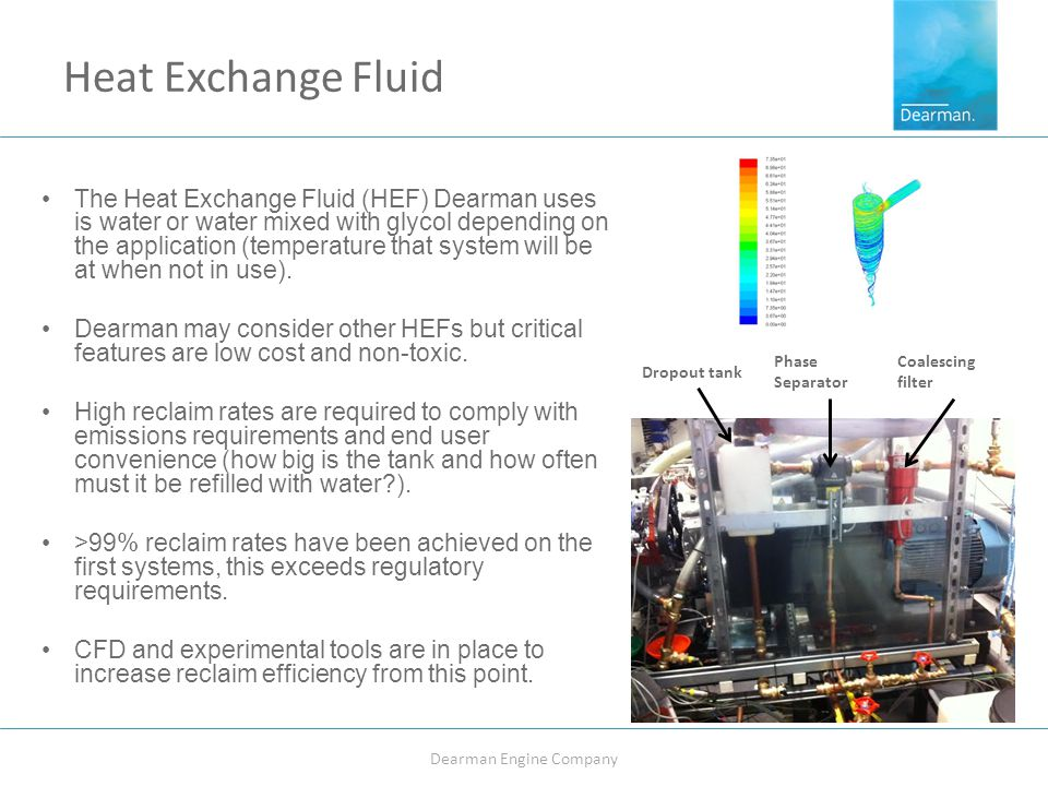 Heat Exchange Fluid The Heat Exchange Fluid (HEF) Dearman uses is water or water mixed with glycol depending on the application (temperature that system will be at when not in use).