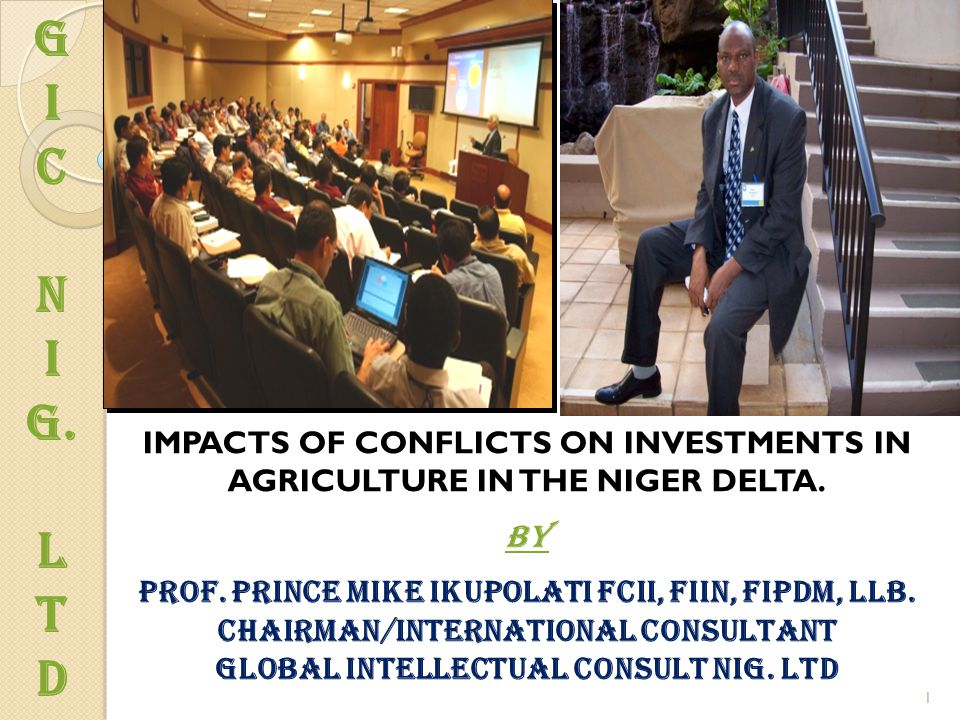 G I C N I g. L T d 1 IMPACTS OF CONFLICTS ON INVESTMENTS IN AGRICULTURE IN THE NIGER DELTA. By Prof. prince Mike Ikupolati fcii, fiin, fipdm, llb. Cha