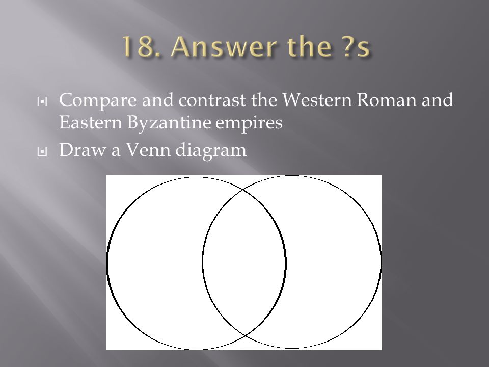  Compare and contrast the Western Roman and Eastern Byzantine empires  Draw a Venn diagram