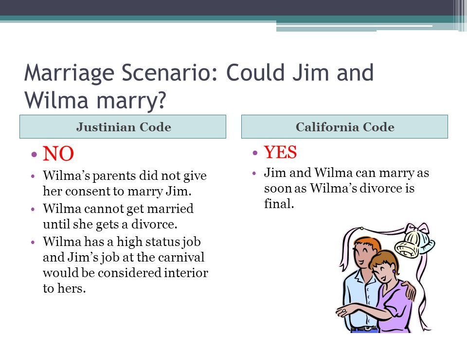 Marriage Scenario: Could Jim and Wilma marry? Justinian CodeCalifornia Code NO Wilma's parents did not give her consent to marry Jim. Wilma cannot get