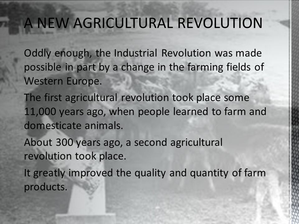 Oddly enough, the Industrial Revolution was made possible in part by a change in the farming fields of Western Europe.