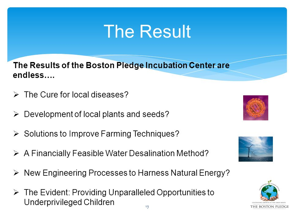 13 The Result The Results of the Boston Pledge Incubation Center are endless….  The Cure for local diseases?  Development of local plants and seeds?